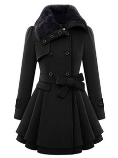 Belt A Line Peplum Double-Breasted Women's Overcoat 8