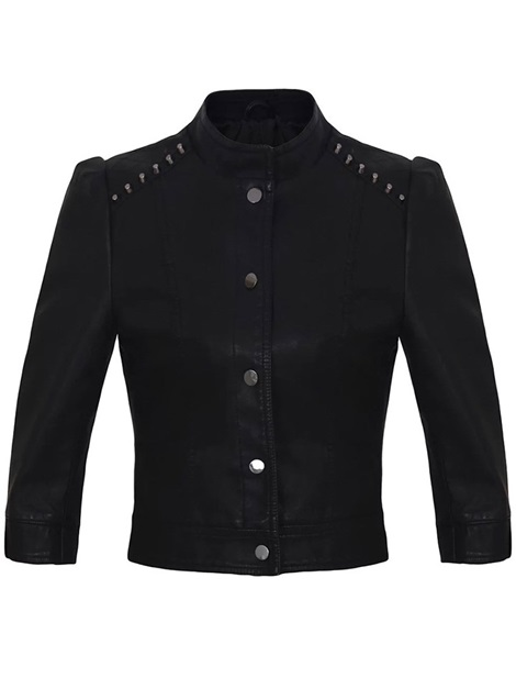 Rivet Stand Collar Three-Quarter Sleeve Women's Short PU Jacket