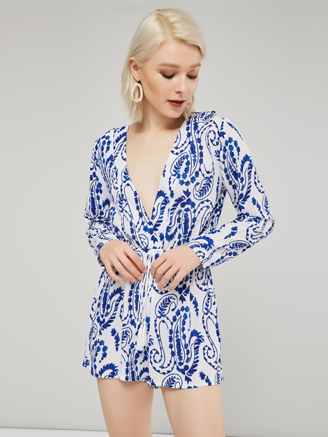 Print Long Sleeve Deep V Neck Women's Romper