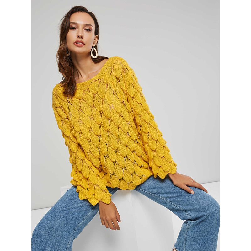 Hollow Loose Fit Scoop Neck Womens Sweater