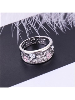 Hollow Floral Design Gemmed Oil Drip Prom Ring