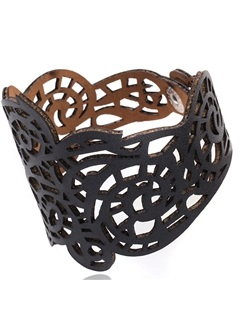 Wide Hollow Geometric Carving Retro Leather Bangle