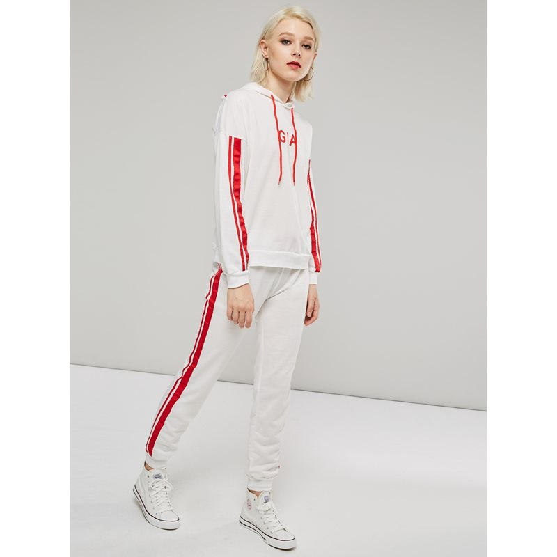 Stripe Long Sleeve Hoodie and Pants Womens Two Piece Set