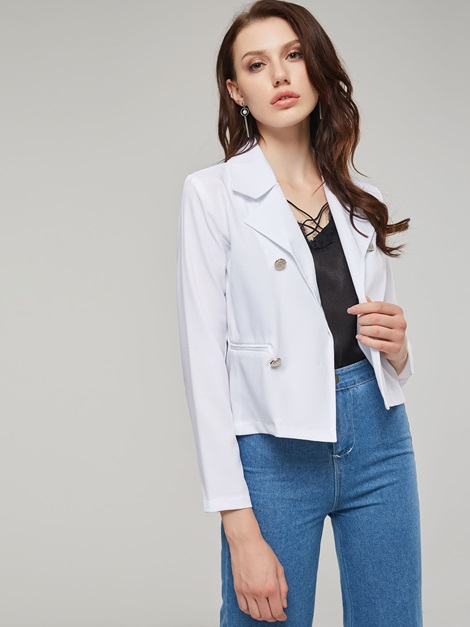 OL Slim Lapel Double-Breassted Short Women's Blazer