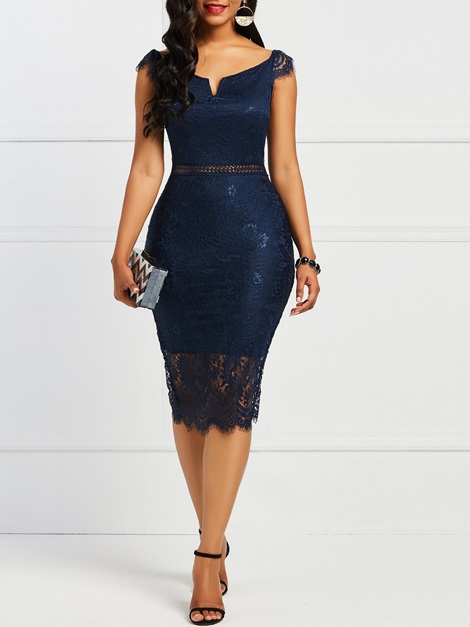 Slash Neck Hollow Lace Women's Bodycon Dress