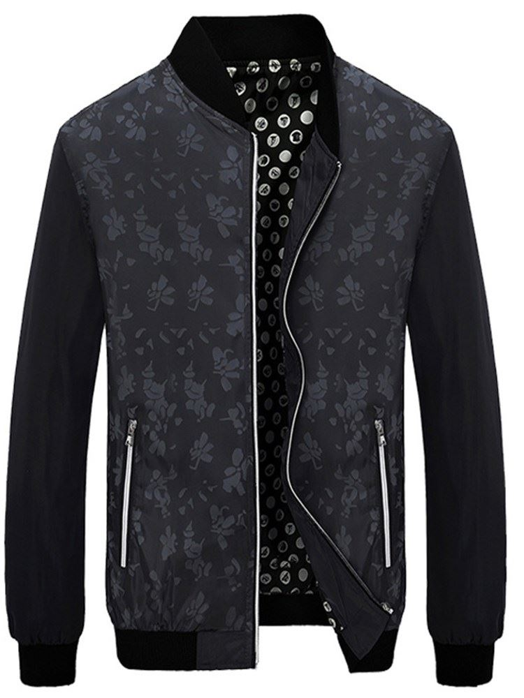 Stand Collar Floral Print Zipper Mens Casual Jacket