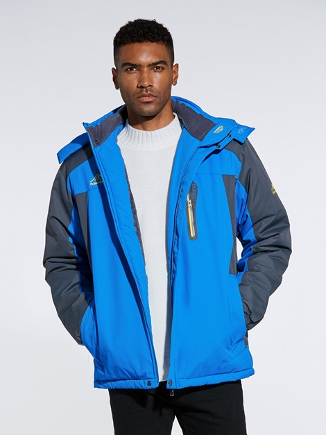 Hooded Color Block Warm Men's Winter Coat