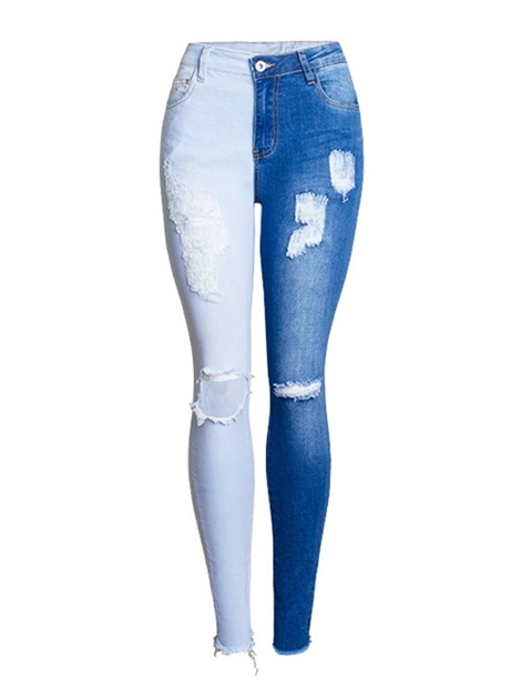 Color Block Patchwork Hole Skinny Women's Jeans