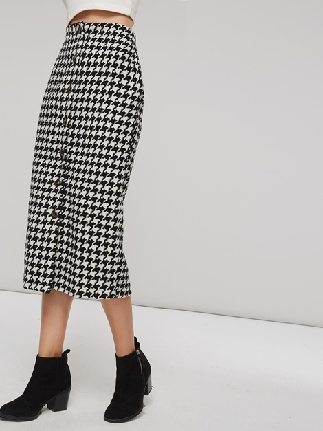 Mid-Calf Plaid Button Women's Bodycon Skirt