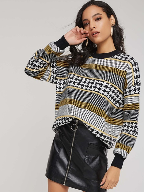 Color Block Houndstooth Striped Women's Sweater