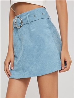 Corduroy Plain Belt Women's Mini Skirt 2