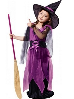 Halloween Witch Cosplay Party Girls' Maxi Dress