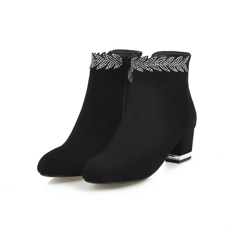 Rhinestone Plain Side Zipper Chunky Heel Womens Boots