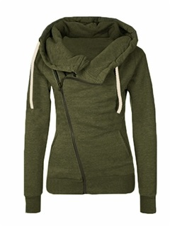 Solid Color Zip Open Front Women's Hoodie 3