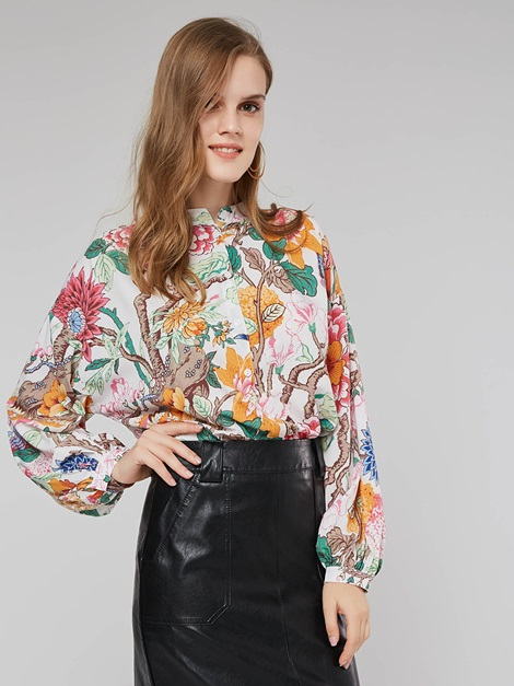 Floral Print Long Sleeve Loose Women's Shirt