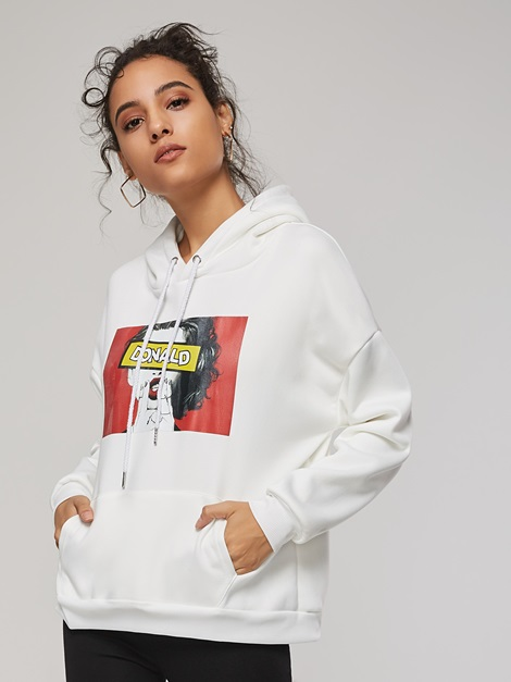 Cartoon Print Pocket Front Women's Hoodie