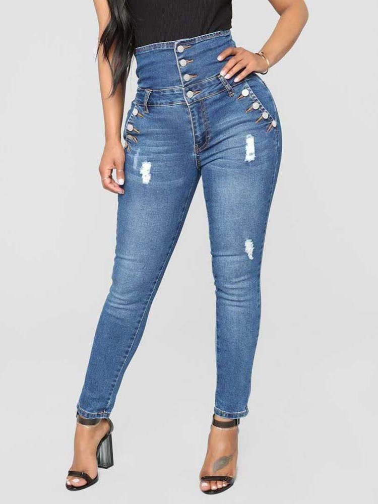 High Wasit Button Skinny Worn Womens Jeans