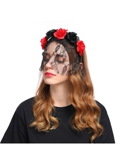 Assorted Colors Velvet Flower Halloween Hair Accessories with Veil 1