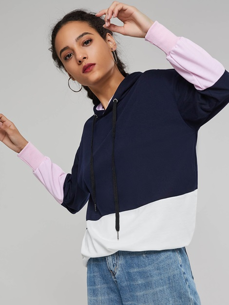 Color Block Stylish Casual Women's Sweatshirt