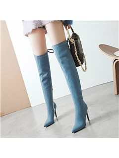 Denim Stiletto Heel Women's Over The Knee Boots 2