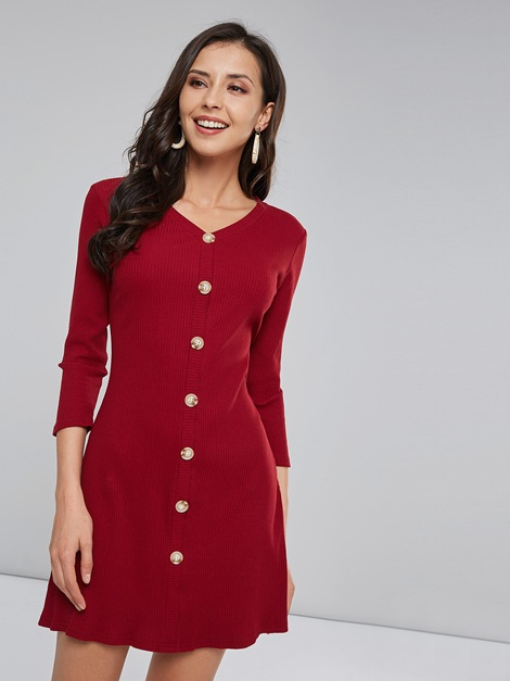 3/4 Length Sleeves Single-Breasted Women's Day Dress