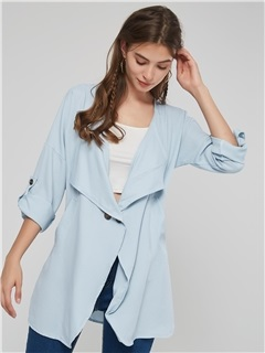 Thin Plain Lapel Loose Office Lady's Trench Coat 2