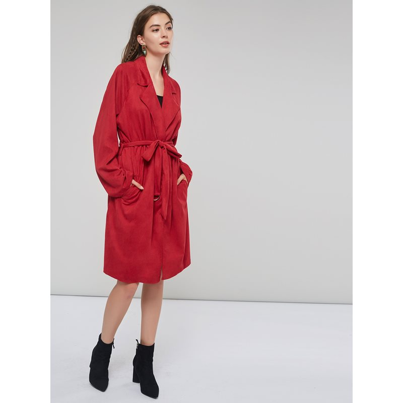 Belt Suede Loose Womens Long Wrapped Trench Coat фото