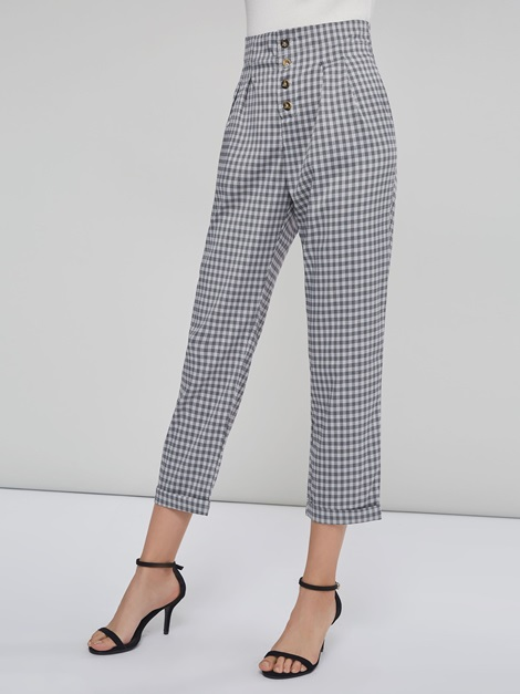 Single Breasted Gingham Print Women's Casual Pants