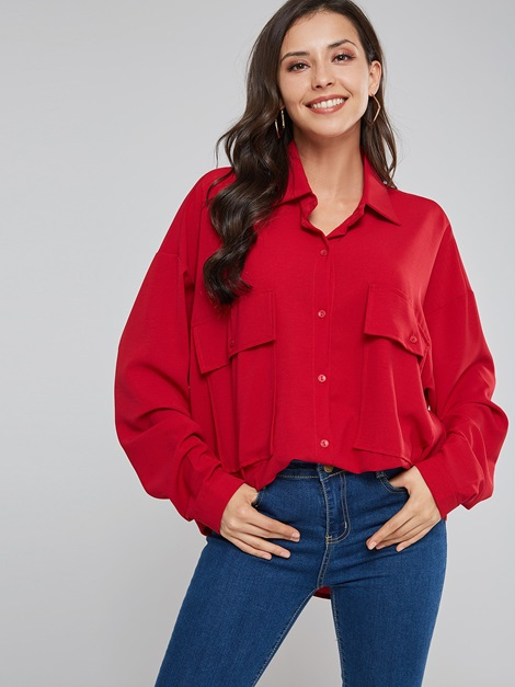 Loose Plain Mid Length Button Casual Women's Shirt