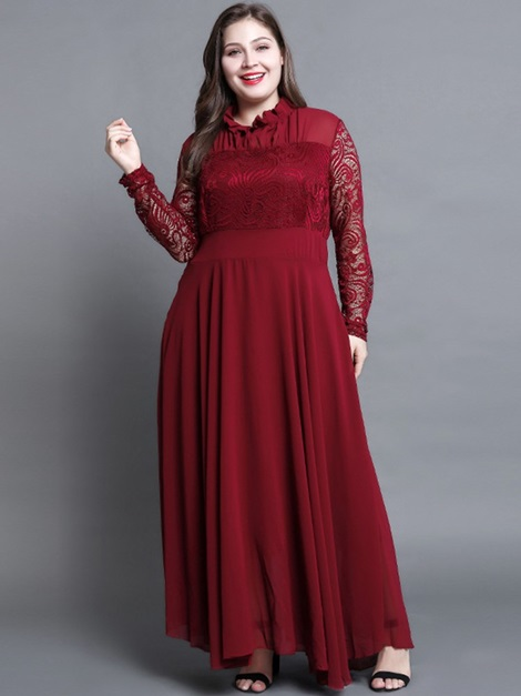 Long Sleeve Chiffon Lace Women's Maxi Dress