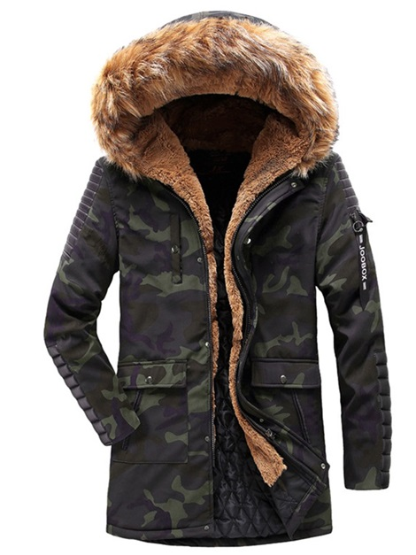 Camo Fur Hooded Men's Winter Coat