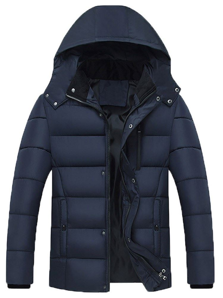 Plain Hooded Zipper Thick Mens Down Coat