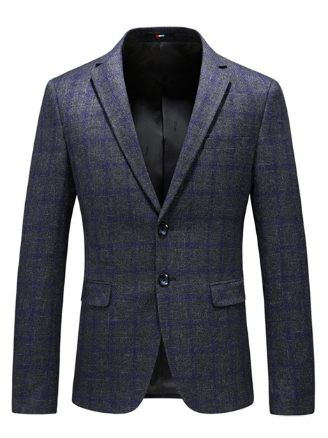 Plaid Two Buttons Men's Casual Blazer