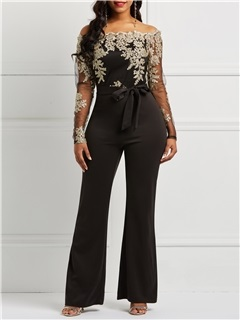 Lace Slash Neck See-Through Slim Women's Jumpsuit 5