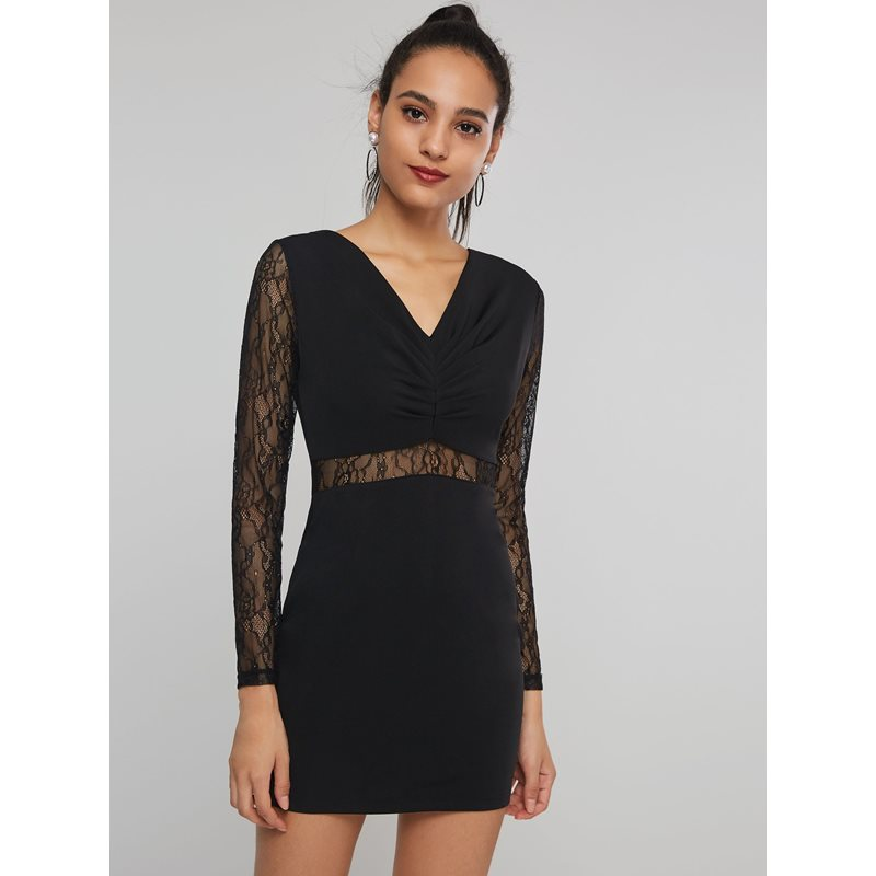 V-Neck Bodycon Hollow Womens Lace Dress