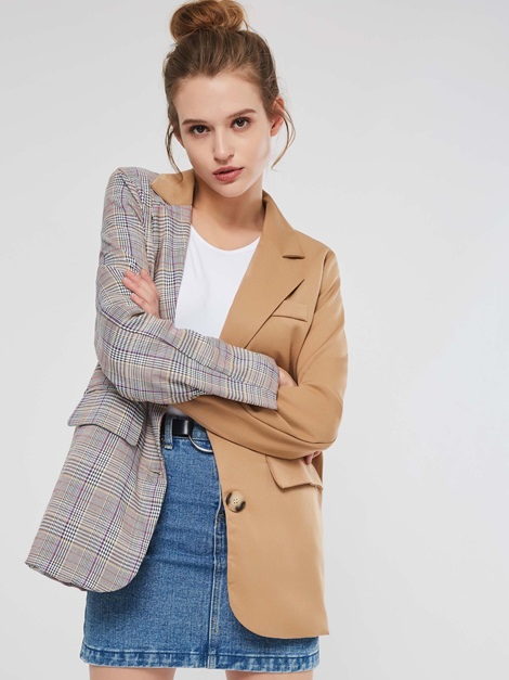 Plaid Patchwork Color Block Mid Length Women's Jacket