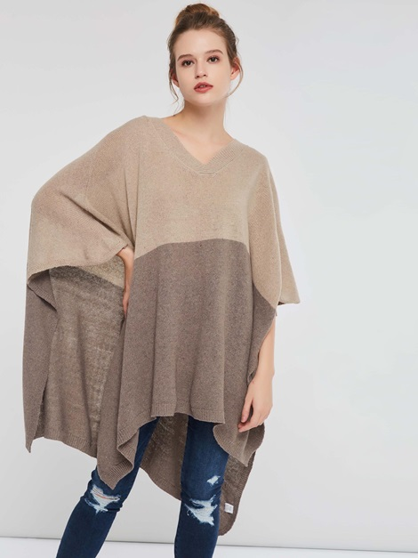 Color Block Loose Fall Pullover Women's Knitted Cape
