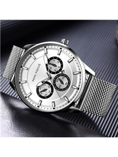 Business Style Glass Surface Stainless Steel Luminous Men's Watch 2