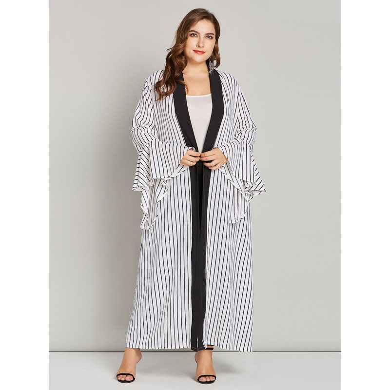 Plus Size Striped Ruffle Sleeve Womens Long Trench Coat