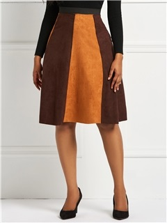 Mid-Calf A-Line Patchwork Color Block Suede Skirt 1