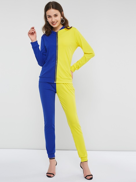 Color Block Zipper Hooded Pencil Pants Women's Two Piece Set
