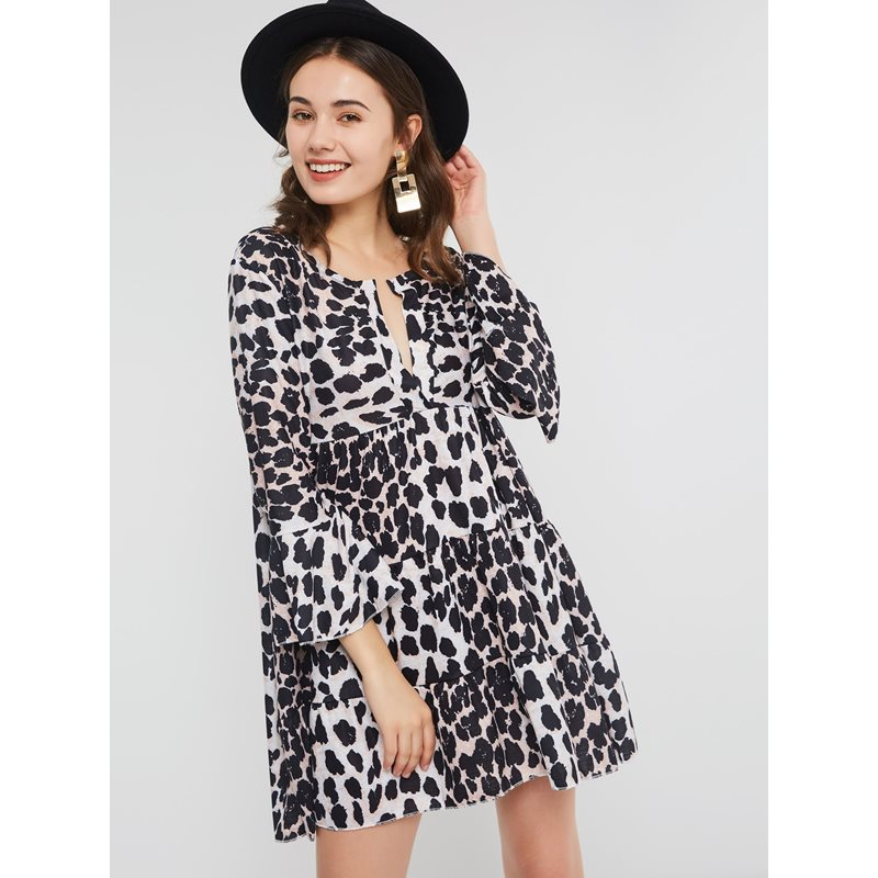 Image of Above Knee Pullover Print Womens A-Line Dress
