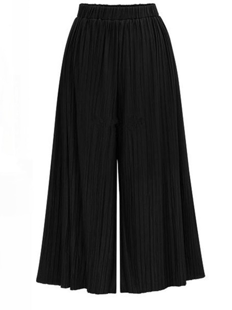 Pleated Loose Plain Ankle Length Wide Legs Women's Casual Pants