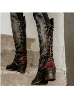 Side Zipper Chunky Heel Women's Knee High Martin Boots 15