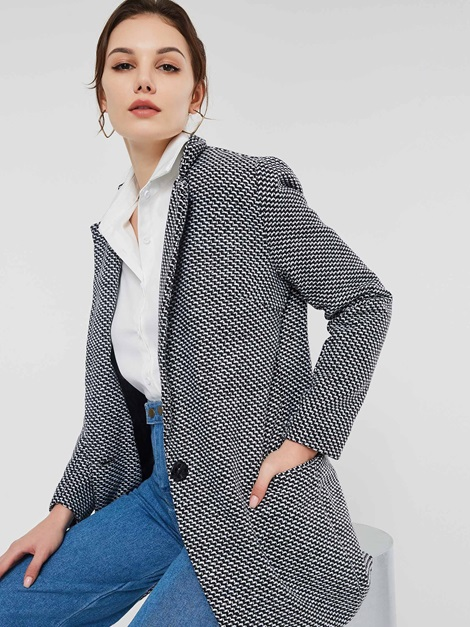 OL Loose One Button Mid-Length Women's Overcoat