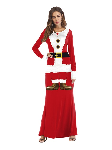 Christmas Color Block Long Sleeve Print Sexy Costumes