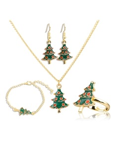 Christmas Tree Shape Oil Drip 2 Piece Jewelry Sets 1