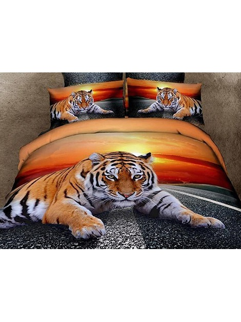 Lying Tiger at Dusk Printed Cotton 4-Piece 3D Bedding Sets/Duvet Covers
