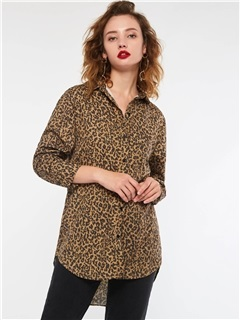 Leopard Lapel Long Sleeve Women's Blouse