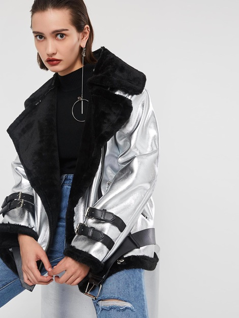 Silver Loose Zipper Thick Notched Lapel Women's Metallic Coat